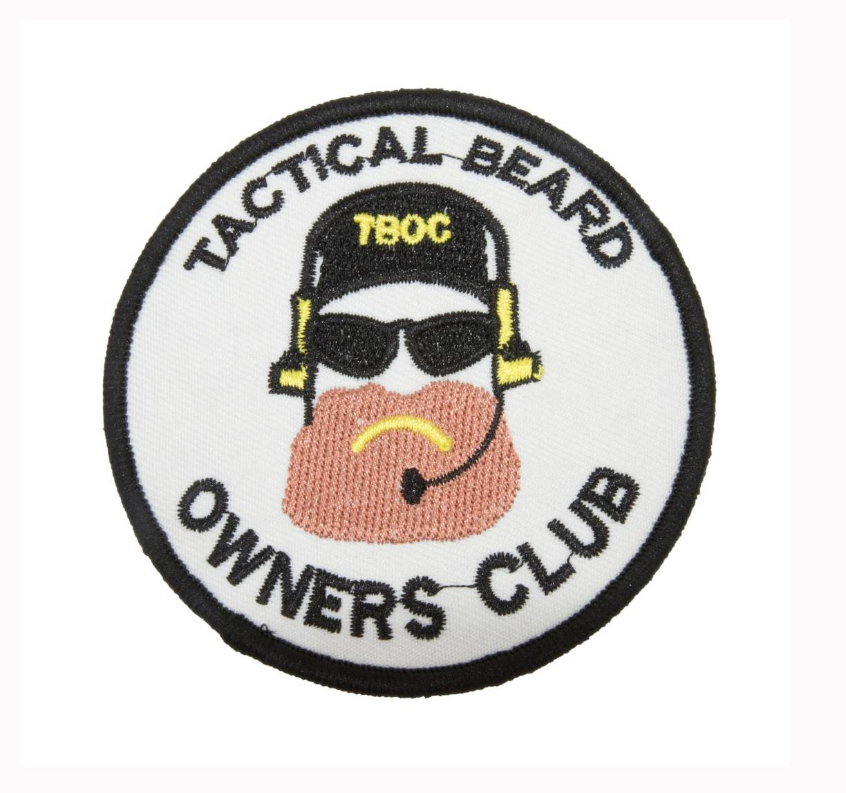 "Нашивка ""Tactical Beard Owners Club"" на липучке белая"